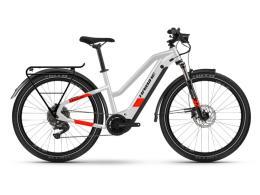 City Bike Elettrica Haibike Trekking 7 Lowstandover Grigio Rosso