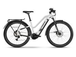 City Bike Elettrica Haibike Trekking 8 Lowstandover Bianco