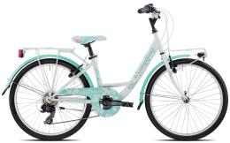 City Bike Torpado Kelly 24 TY300 6V Bianco Acquamarina
