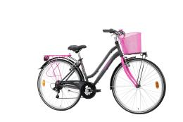 City Bike Trekking Lombardo Siena 100 Donna 28 6V Antracite Fucsia