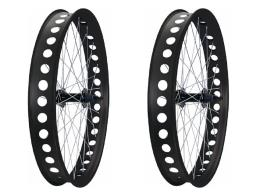 Ruote 26 Fat Bike 80 mm in alluminio Nero